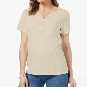 Karen Scott Beige Short Sleeve Henley T-Shirt XL